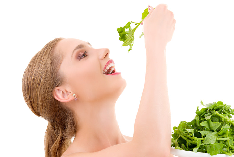 bigstock-Happy-Woman-With-Spinach-6176294