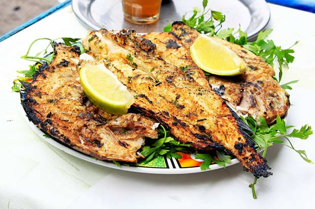 bigstock-Grilled-Fish-With-Greens-On-Th-45613858