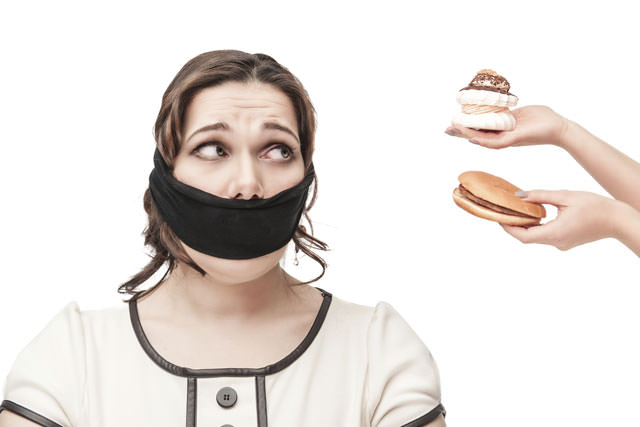 Gagged plus size woman seduced with junk food