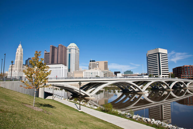 City of Columbus, Ohio with the new Rich Street Bridge in the foreground.