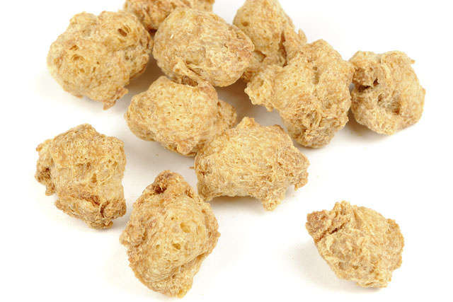 Raw Soya Chunks (Soy Meat) Isoalted on White Background