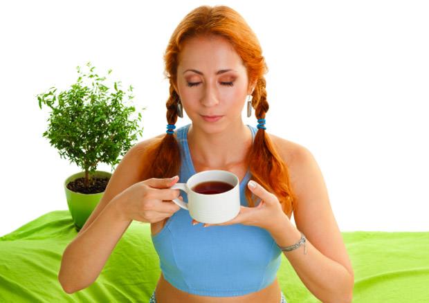 Smelling tea aroma